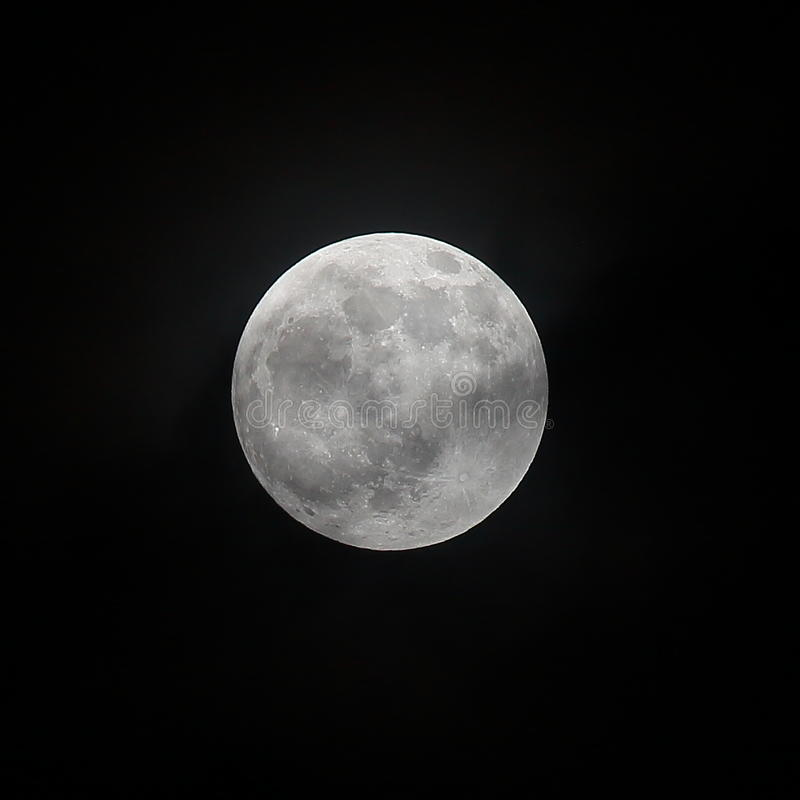 Lunar September 16 2016, Close up full moon showing the detail of crater royalty free stock photography