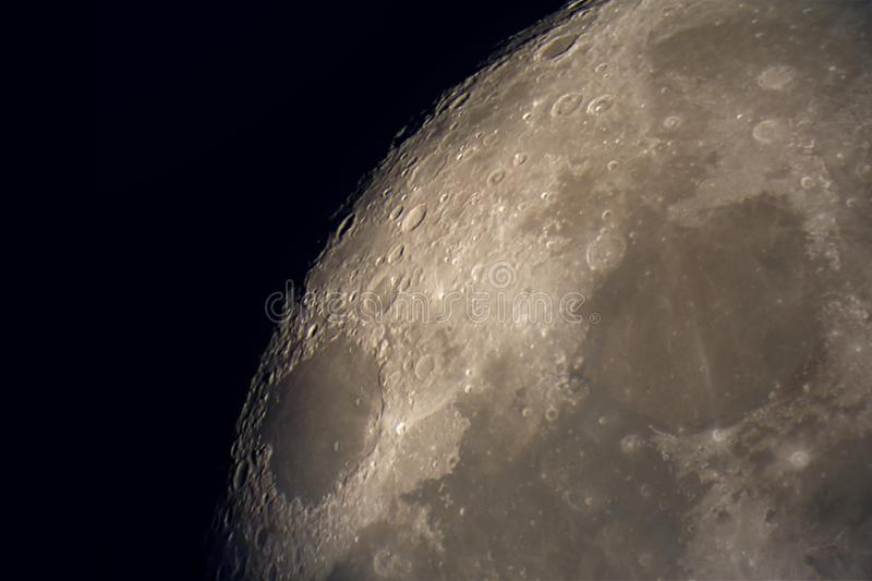 Lunar surface. And craters. Image taken through an 8 inch telescope stock images