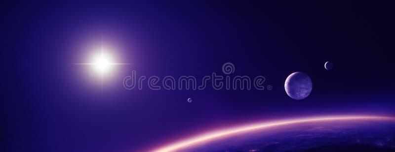 Lunas y sol de los planetas en luz púrpura libre illustration