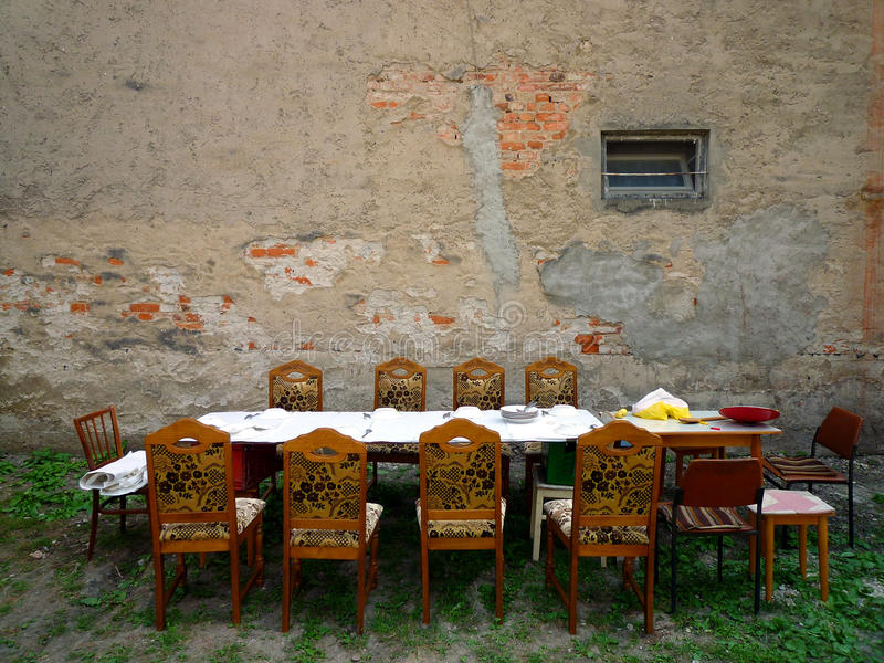 Lunch In Backyard Stock Photography