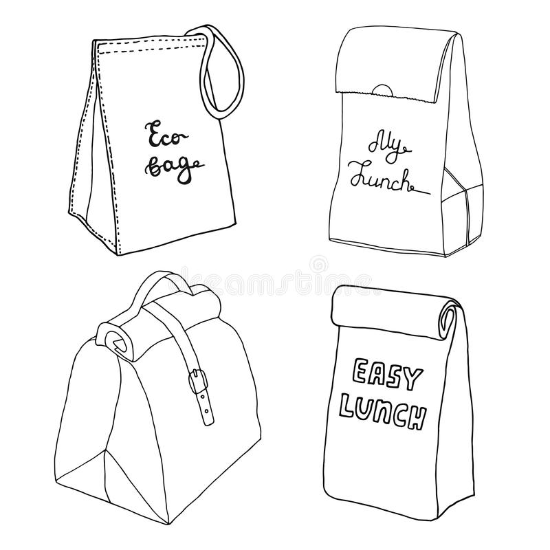 Lunch bag collection. Easy lunch box concepts. Various food bags stock illustration