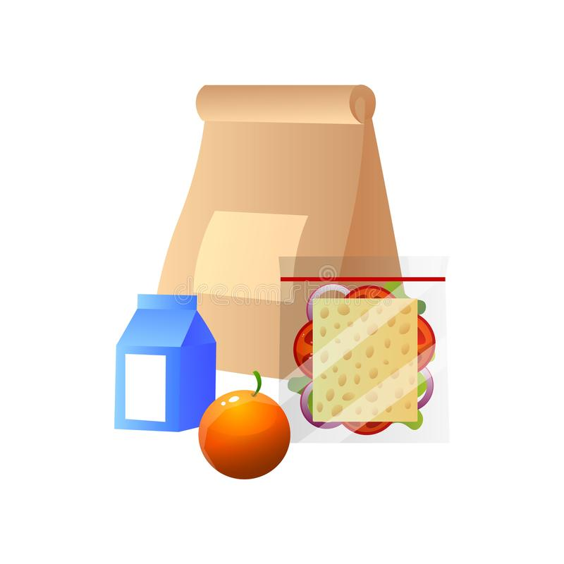 Lunch Bag with Healthy Food, Sandwich, Orange and Box of Milk, School Lunch in Paper Packaging Vector Illustration stock illustration