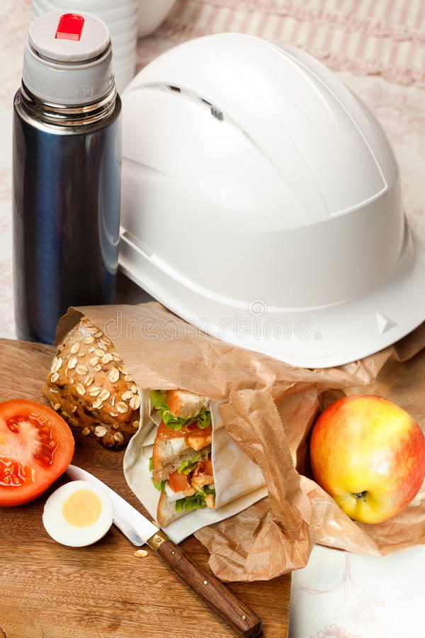 Download Lunch bag and helmet stock image. Image of nobody, open - 27283593