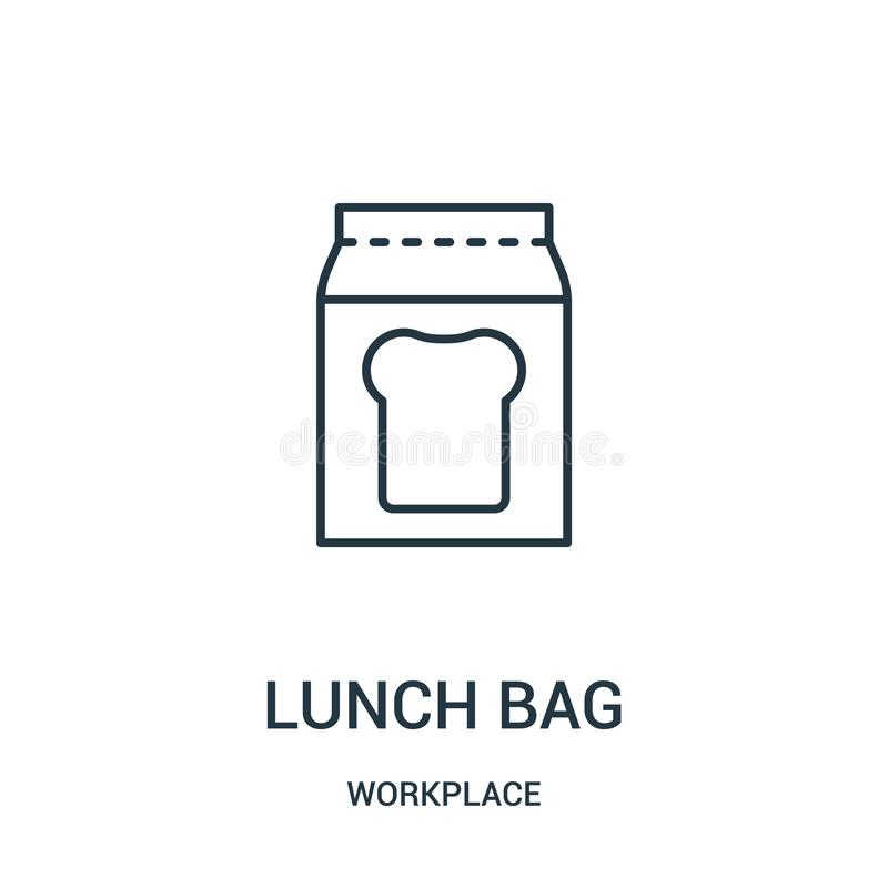 lunch bag icon vector from workplace collection. Thin line lunch bag outline icon vector illustration stock illustration