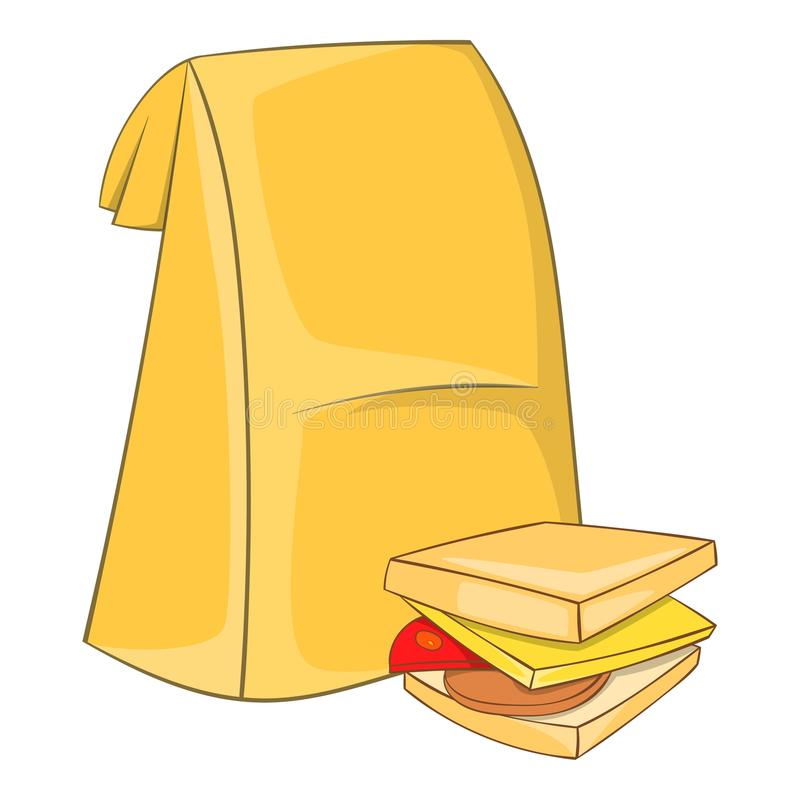 Lunch bag and sandwich icon, cartoon style stock illustration