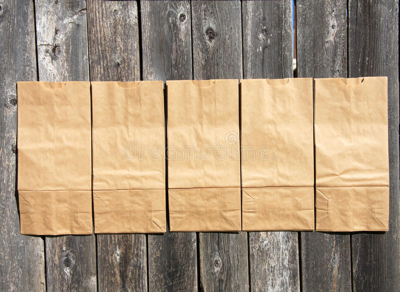 Brown paper bags stock images