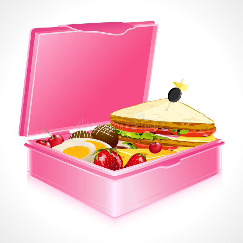 Lunch Box. Illustration of sandwich fruits and egg in lunch box vector illustration