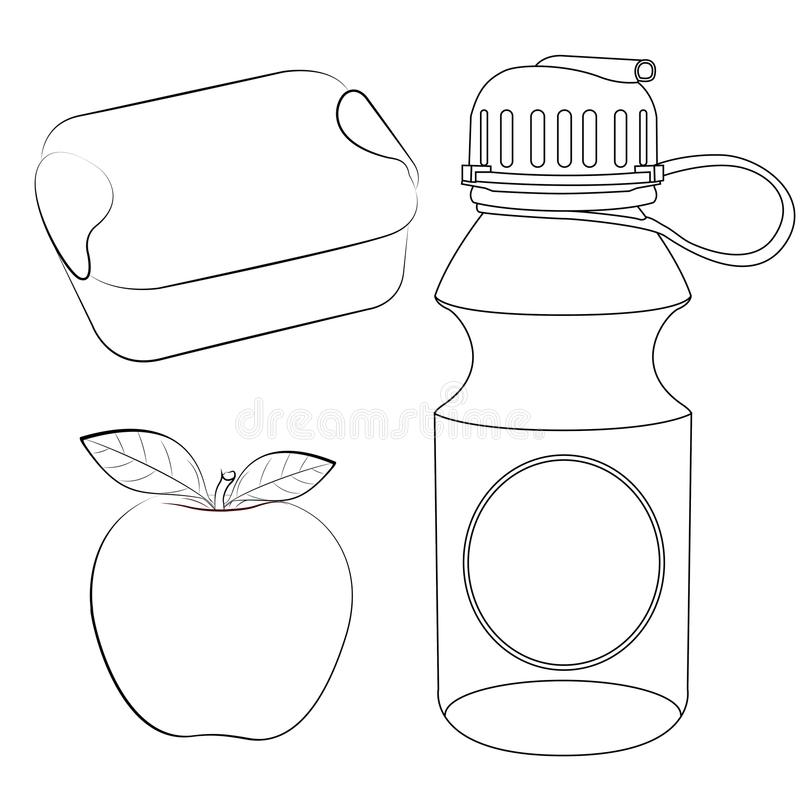 lunch box apple water bottle coloring page vector illustration clipart school supplies lunch box apple water bottle coloring page