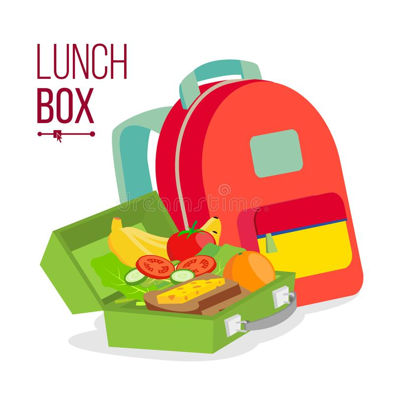 Lunch Box And Bag Vector. Healthy School Lunch Food For Kids, Student. Isolated Flat Cartoon Illustration. Lunch Box And Bag Vector. Schoolbag With Healthy Food royalty free illustration