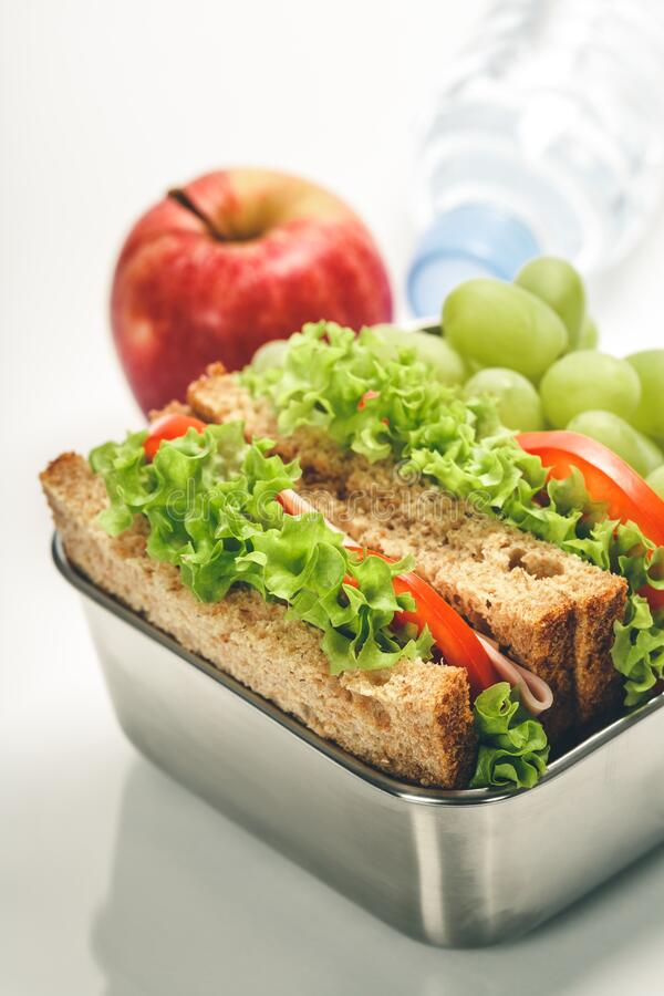 Lunch box with food ready to go royalty free stock photography