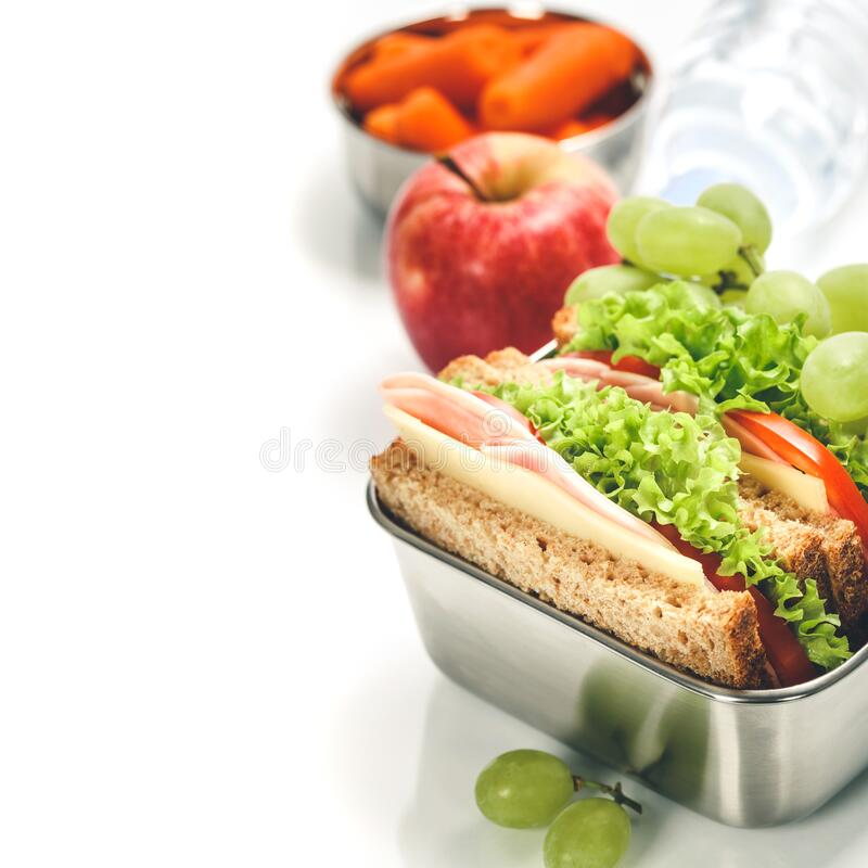 Lunch box with food ready to go royalty free stock images