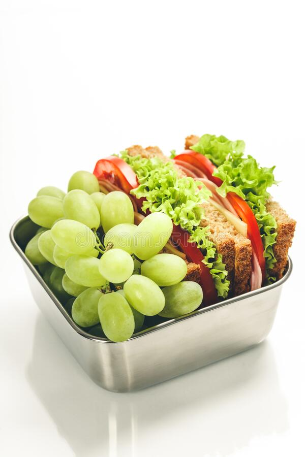 Lunch box with food ready to go stock photo