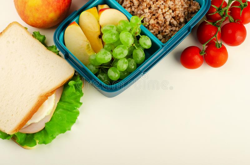 Lunch box and healthy food stock photography