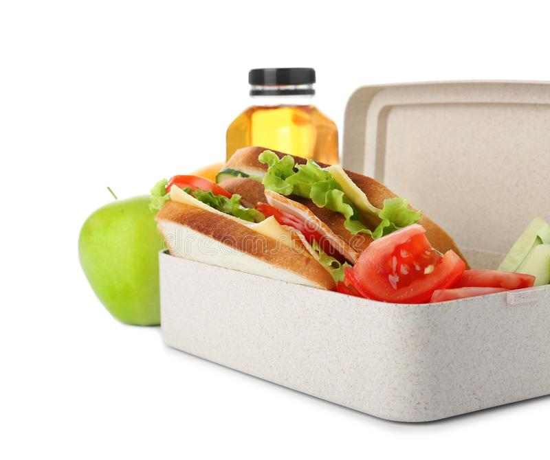 Lunch box with healthy food for schoolchild. On white background stock photo