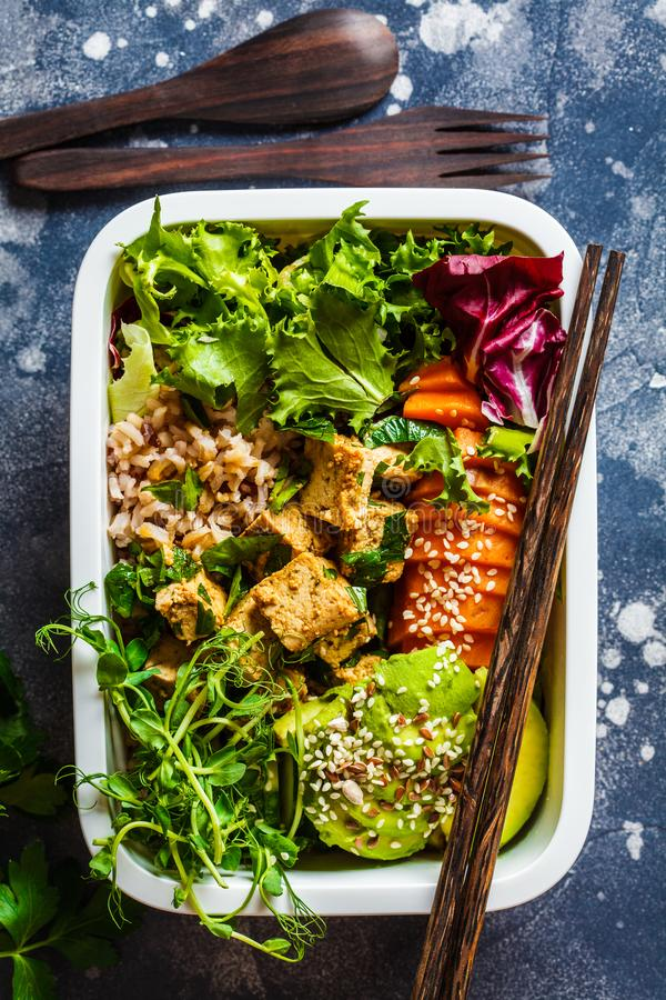 Lunch box with healthy vegan food. Bento box with rice, sweet potato,  tofu and vegetables stock image