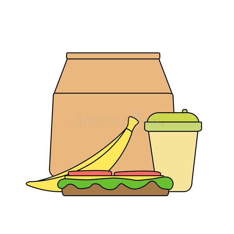 Lunch box: paper bag, banana, sandwich with cheese and tomato salad, coffee in a paper cup vector illustration