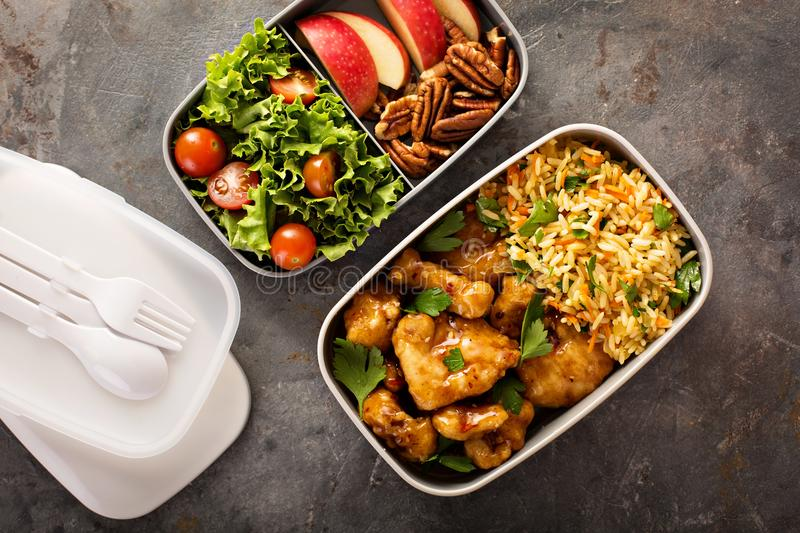 Lunch boxes with food ready to go. For work or school, ahead meal preparation or dieting concept stock images