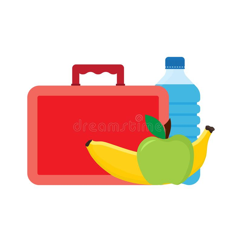 Lunch break or lunch time. Lunch box with school lunch. Apple, banana and water. vector illustration vector illustration