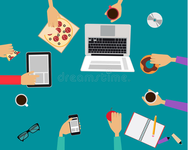 Lunch. Business people eating lunch together in the office. Vector illustration royalty free illustration