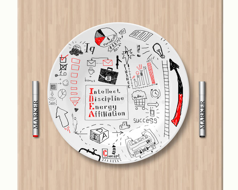 Lunch and business strategy. Working lunch, the strategy on a plate stock images