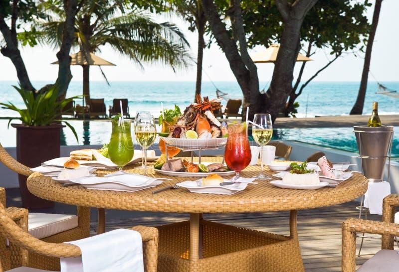 Lunch on the coast ocean stock photo