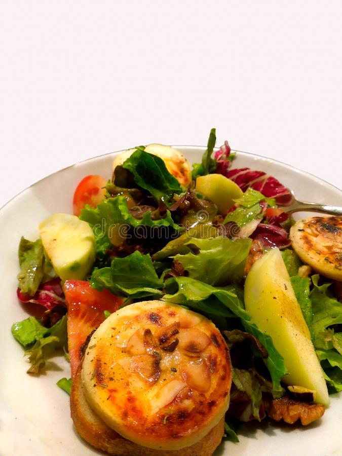 Lunch Dinner Salad Grilled Cheese Apple Tomato royalty free stock photography