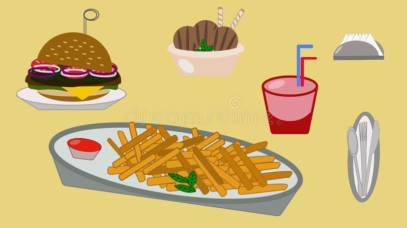 Lunch drink burger ice cream napkin french fries tableware vector illustration