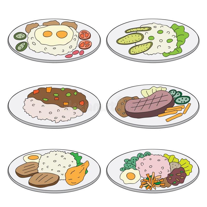 Lunch för vektortecknad filmuppsättning vektor illustrationer