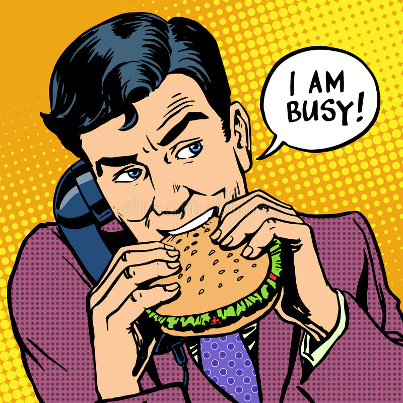Lunch fast food man eating a Burger and talking on vector illustration