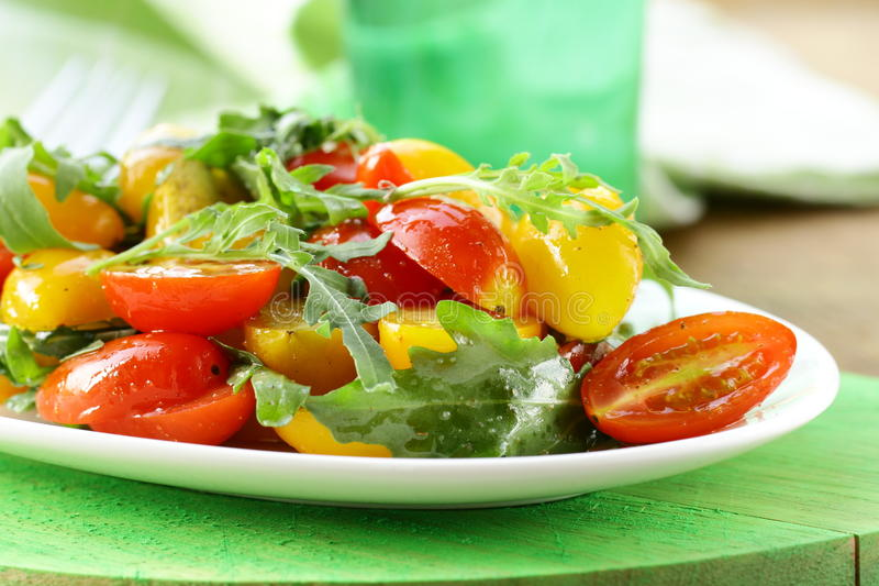 Download Lunch Fresh Salad With Arugula And  Tomatoes Stock Photo - Image: 25872128