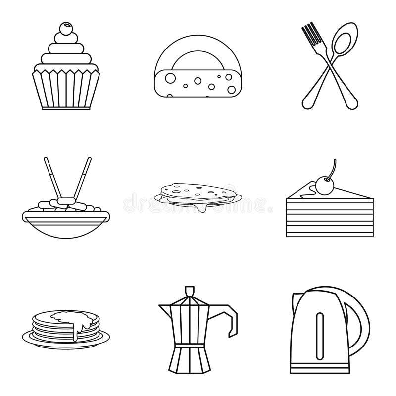 Lunch i matsalsymboler ställde in, skisserar stil stock illustrationer