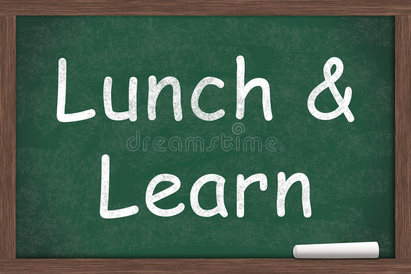 Lunch and Learn. Education written on a chalkboard with a piece of white chalk royalty free stock photos