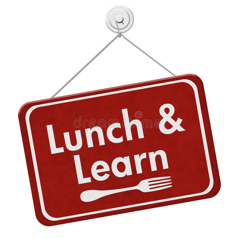 Lunch and Learn Sign. A red hanging sign with text Lunch and Learn and a fork isolated over white stock photos