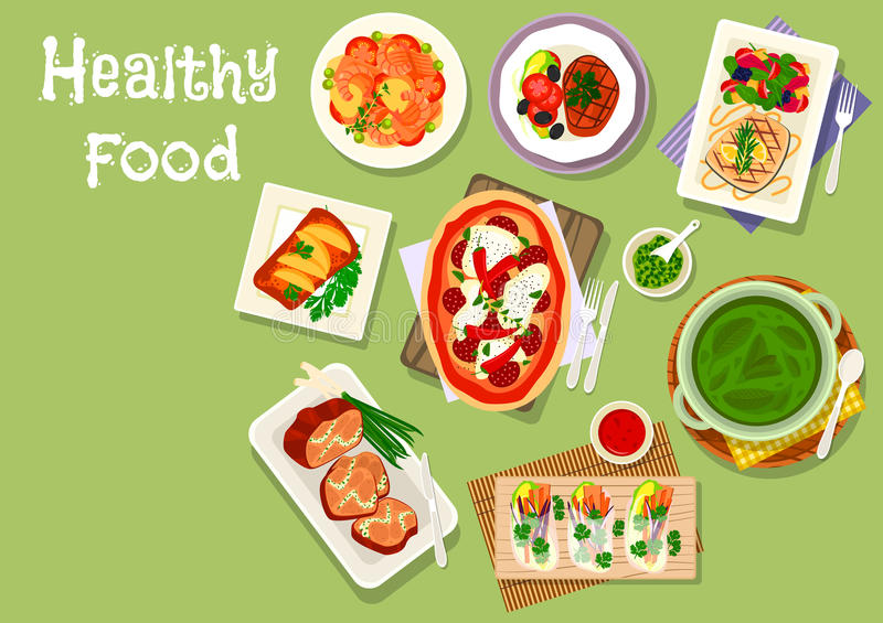 Lunch meal dishes icon for healthy food design. Lunch meal dishes icon of pizza with salami and chilli, vegetarian spring rolls with feta, baked fish and pork vector illustration