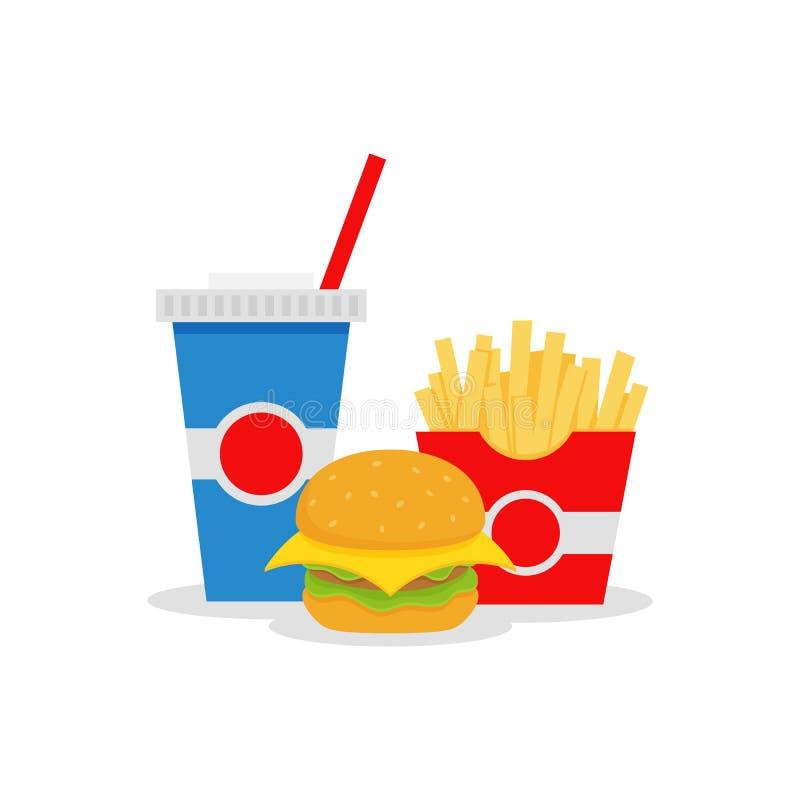 Lunch med den franska småfisk-, hamburgare- och sodavattentakeawayen på bakgrund Skjutit i en studio bakgrunds- och färgbroschyr stock illustrationer