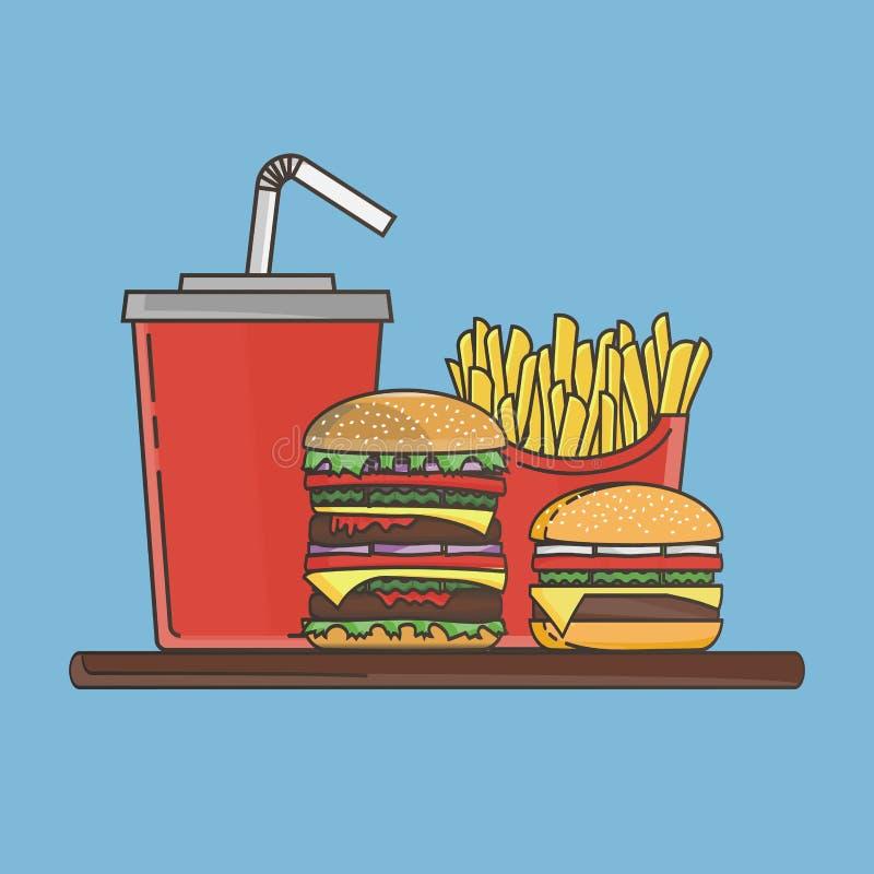 Lunch med hamburgaren, pommes frites och sodavatten vektor för snabbmatgruppprodukter också vektor för coreldrawillustration royaltyfri illustrationer