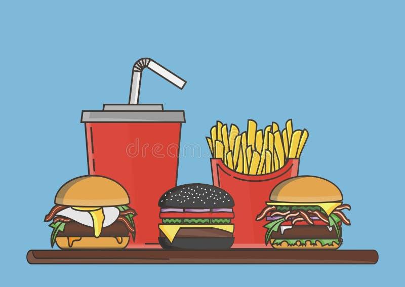 Lunch med hamburgaren, pommes frites och sodavatten vektor för snabbmatgruppprodukter också vektor för coreldrawillustration vektor illustrationer