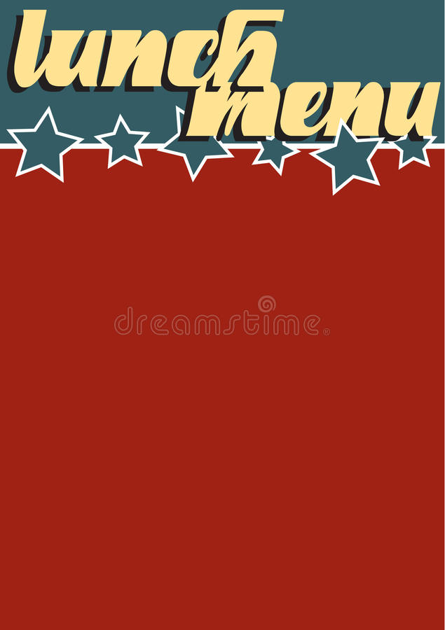 Lunch Menu. A vintage Americana style lunch menu template stock illustration