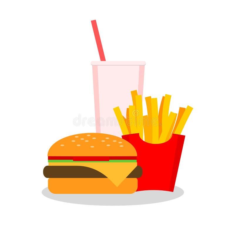 Lunch met frieten, hotdog en soda meeneem op achtergrond vector illustratie