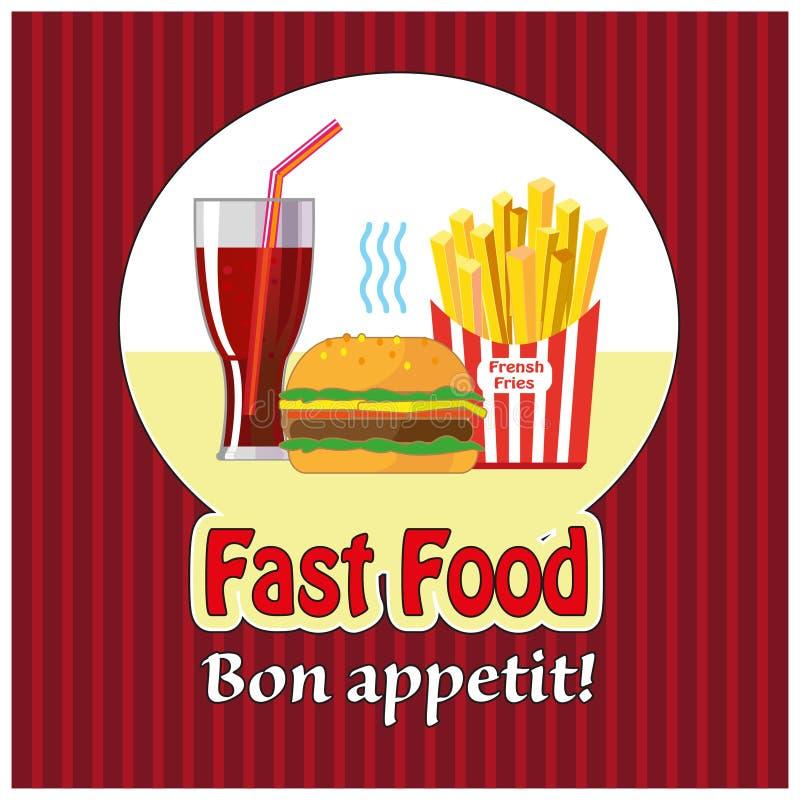 Lunch met frieten, hotdog en soda Snel voedsel Vlak Ontwerp Vector illustratie vector illustratie