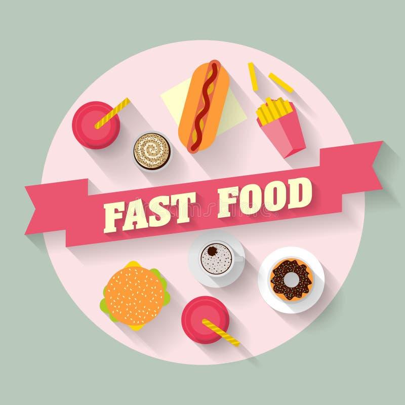 Lunch met frieten, hotdog, hamburger, cupcake, doughnut, koffie en soda Snel voedsel Vlak leg ontwerp vector illustratie