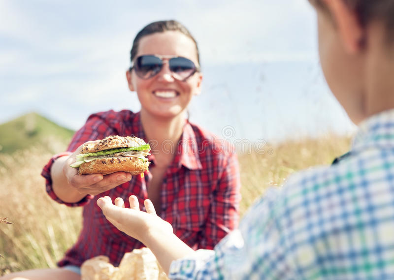 Lunch for mountain climbers. Is a healthy sandwich royalty free stock photography