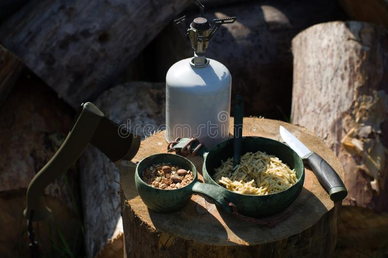 Lunch in nature. Cooked pasta and nuts. Lunch break stock image