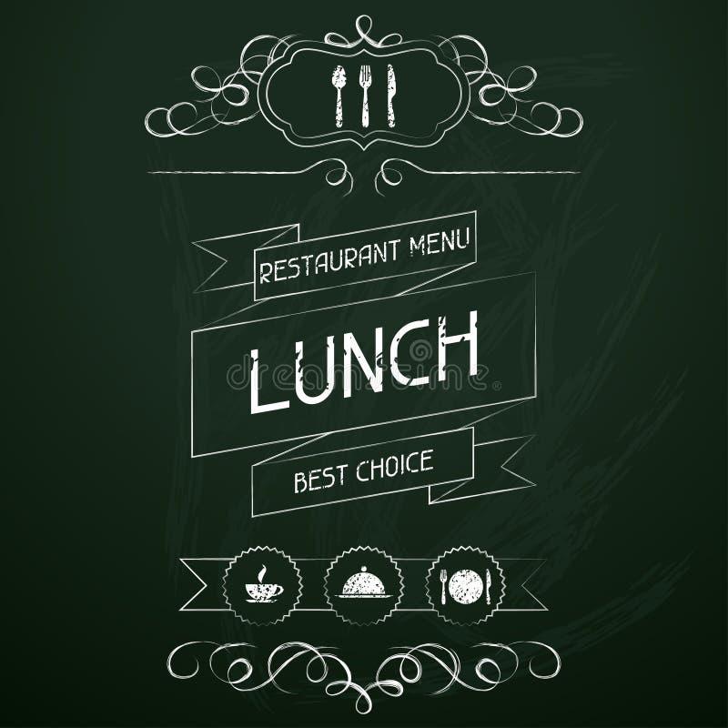 Lunch op het bord van het restaurantmenu royalty-vrije illustratie