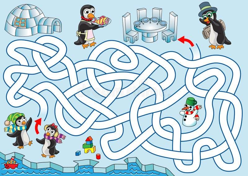 Lunch på pingvin vektor illustrationer