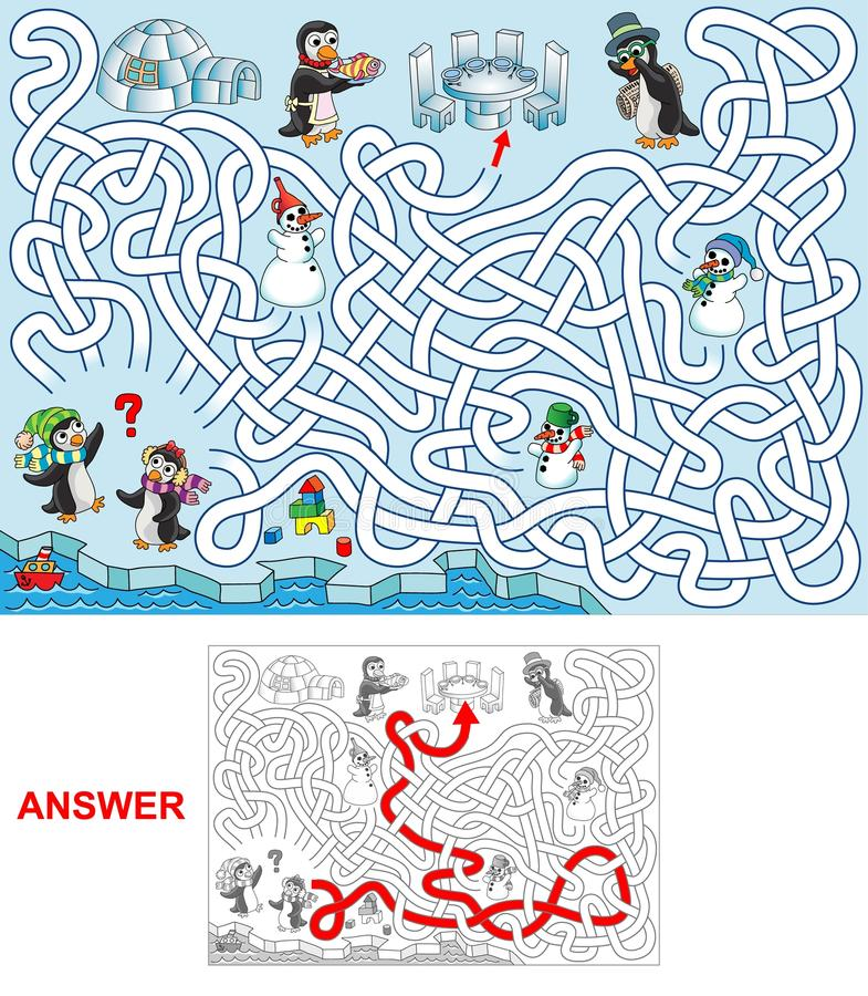 Lunch på pingvin royaltyfri illustrationer