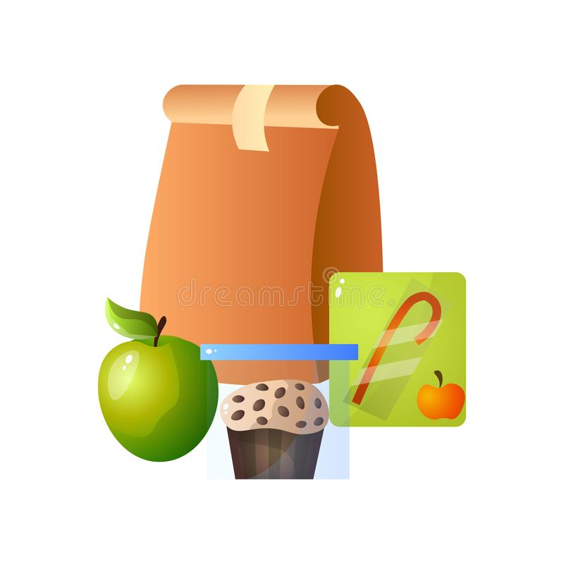 Lunch Paper Bag with Healthy Food, Apple, Muffin and Juice, School Lunch in Paper Packaging Vector Illustration vector illustration