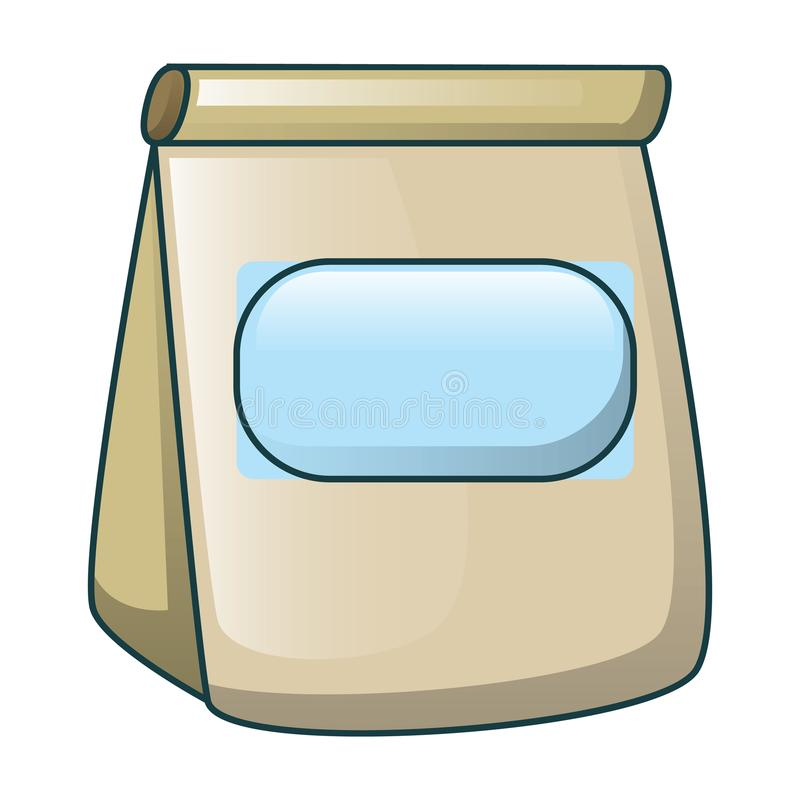 Lunch paper bag icon, cartoon style royalty free illustration