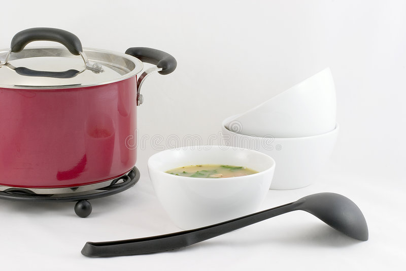 Lunch is ready - Bean soup stock image