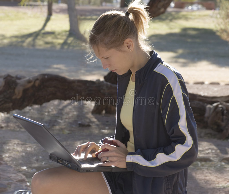 Download Lunch After The Run stock image. Image of computer, power - 452755